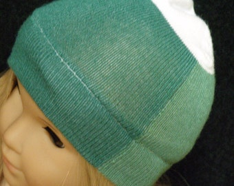 "American Girl Doll Hat, TWO TONED GREEN Skull Cap for 18"" Doll"