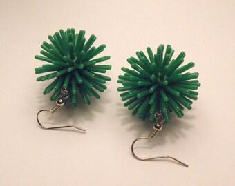 """Earrings, DARK GREEN Spiky """"Koosh"""" Earrings on French Wires, jewelry (142 143)"""