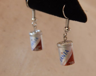 Fanta Soda Can Earrings on Silver French Wires, jewelry (390)