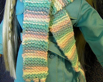 Knit Scarf, American Girl Doll SCARF in pink, blue and white for 18-in doll, coordinates with AG raincoat (267)