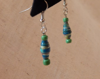 Earrings Paper Bead with Green & Blue Accents on French Wires, jewelry (372)