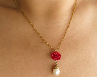 Scarlet Rose - Pearl and Polymer Clay Necklace