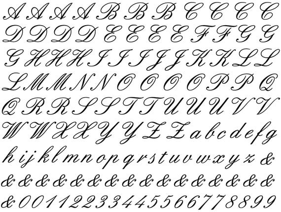Cursive Alphabet Ceramic Decals, Glass Decals or Enamel Decals