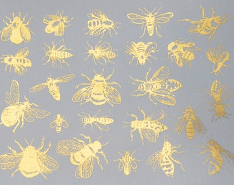 Ceramic Decals - Vintage Bees - Glass Fusing Decals, Waterslide Decals, Ceramic Transfers