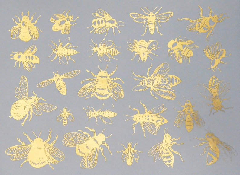 Vintage Bees Ceramic Decals Glass Fusing Decals Waterslide image 0