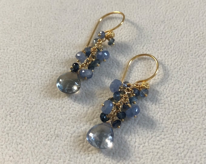 Blue Sapphire Earrings in Gold Vermeil // Umba Sapphire and Ceylon Sapphire // Autumn Fall Colors // OOAK