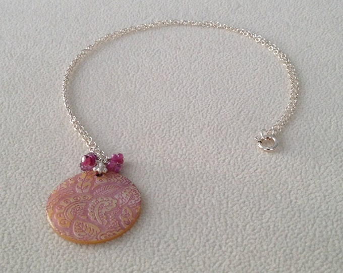 Pink Sapphire Daisy / Paisley / Ivory White Moonstone Cherry Blossom / Lattice Mother of Pearl Shell Pendant Necklace