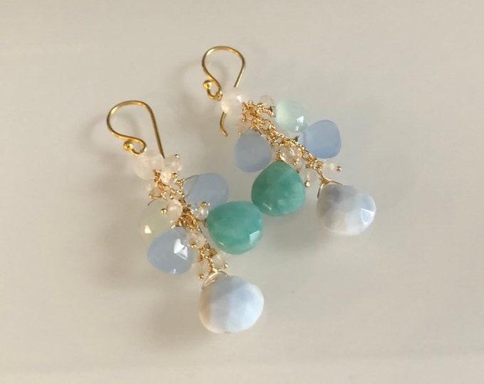 OOAK Gemstone Cluster Earrings in Gold Vermeil with Blue Sea Opal, Amazonite, Blue Chalcedony, Sea Foam Green Chalcedony, Rainbow Moonstone