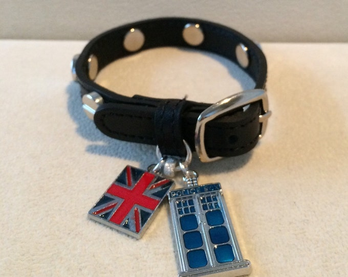 Doctor Who Inspired Black Silver-tone Studded Leather Bracelet UK Union Flag and Tardis Charm Bracelet