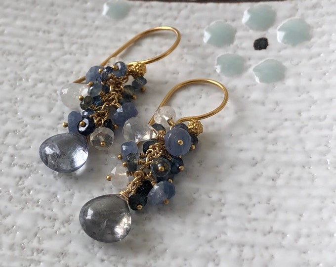 Blue Sapphire Earrings in Gold Vermeil with Umba Sapphire and Ceylon Sapphire and Rainbow Moonstone