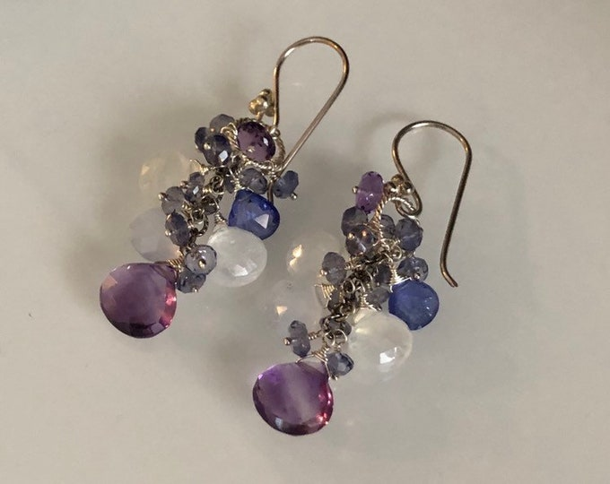 Semiprecious Gemstone Earrings in Sterling Silver and Amethyst, Chalcedony, Tanzanite, Rainbow Moonstone and Iolite