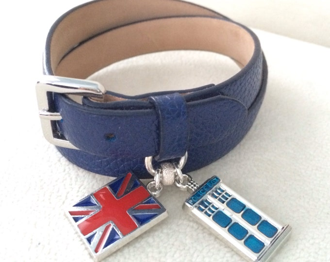 Doctor Who Inspired Navy Blue Genuine Leather Double Wrap Bracelet with UK Union Flag and Police Box Charms