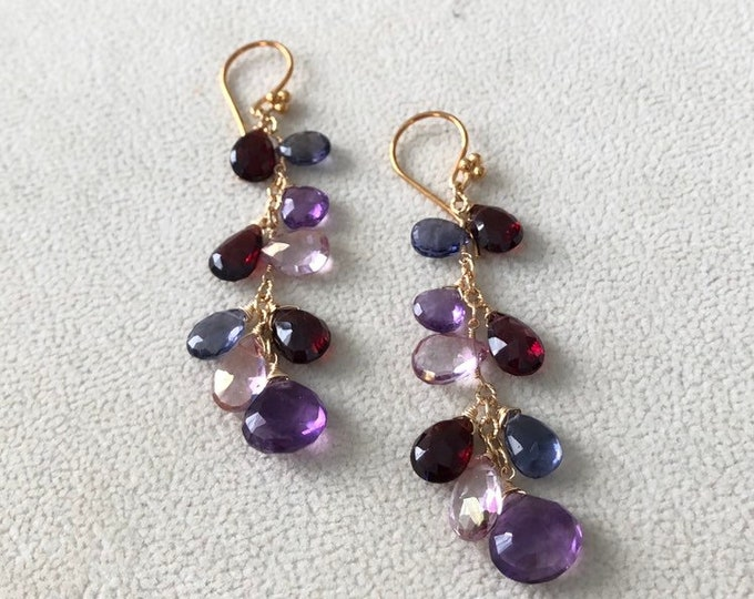 Red Semiprecious Gemstone Earrings in Gold Vermeil and Garnet, Mystic Pink Quartz, Iolite, Rhodolite Garnet