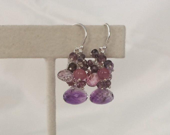 Gemstone Cluster Earrings in Sterling Silver, Moss Amethyst, Mystic Pink Topaz, Mystic Pink Quartz, Amethyst, Pink Sapphire, Spinel