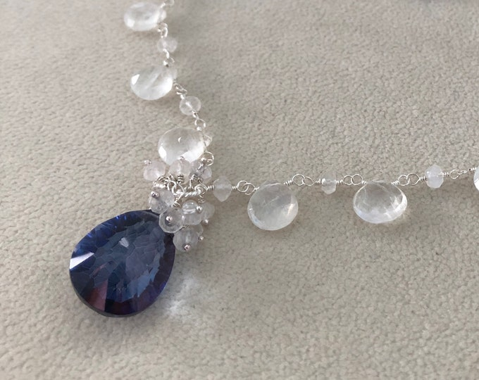 Gemstone Bridal Necklace in Sterling Silver with Mystic Tanzanite Blue Quartz, Rainbow Moonstone and Rock Crystal