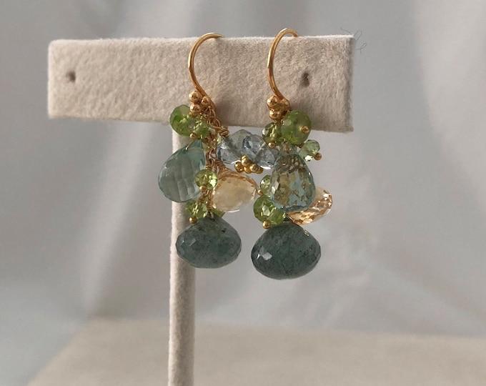 Autumn Inspired Gemstone Earrings in Gold Vermeil with Moss Aquamarine, Citrine, Peridot, Mystic Green Quartz, Teal Quartz