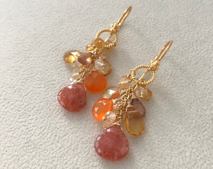 Semiprecious Gemstone Earrings in Gold Vermeil with Yellow and Golden Citrine, African Sunstone, Orange Carnelian, Zircon