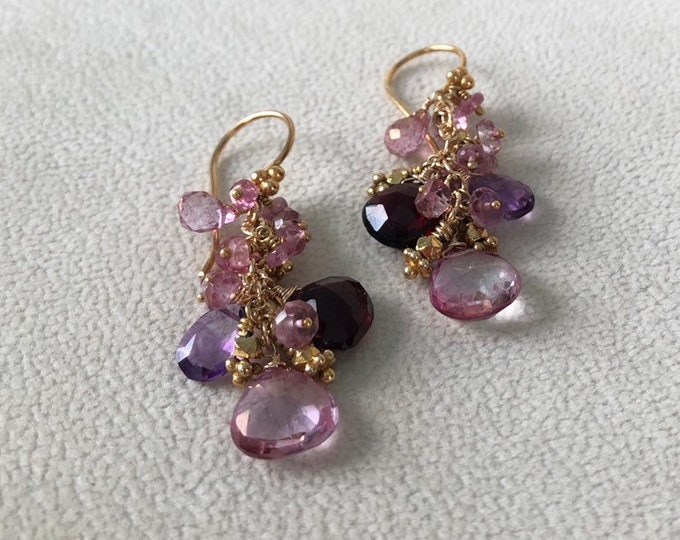 Gemstone Earrings in Gold Vermeil with Mystic Pink Topaz and Amethyst, Garnet and Mystic Pink Quartz