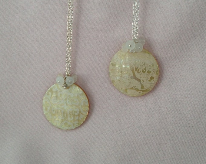 Ivory White Moonstone Cherry Blossom / Lattice Patterned Mother of Pearl Shell Pendant Necklace