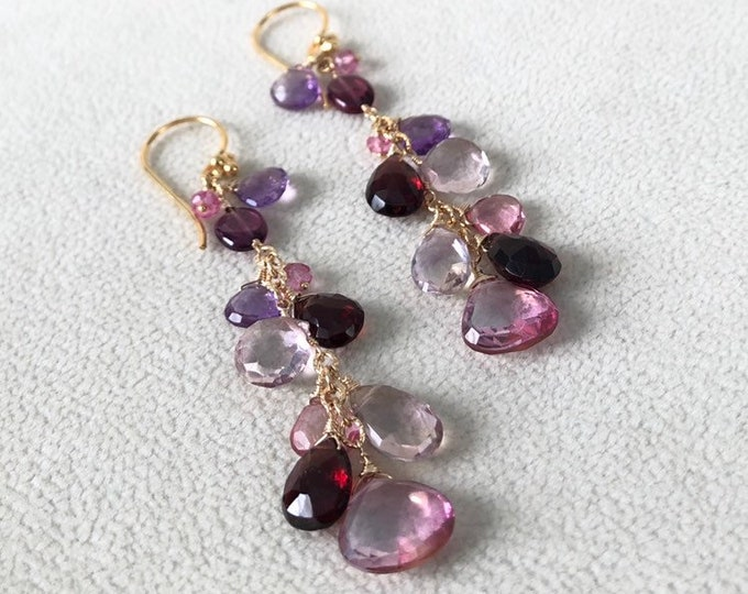 Semiprecious Gemstone Earrings in Gold Vermeil with Pink Topaz, Ametrine, Garnet, Light Amethyst, Mystic Pink Quartz, Rhodolite Garnet