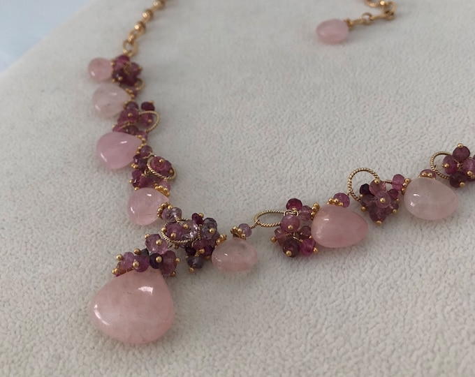 Pink Aquamarine Morganite Gemstone Necklace in Gold Vermeil with Mystic Pink Quartz, Pink Tourmaline, Pink Sapphire, Spinel
