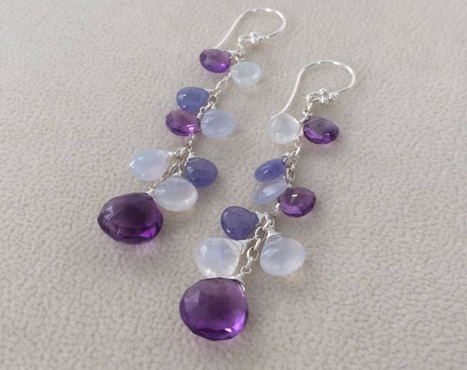 Semiprecious Gemstone Dangle Earrings in Sterling Silver with Amethyst, Tanzanite, Natural Chalcedony, and Rainbow Moonstone