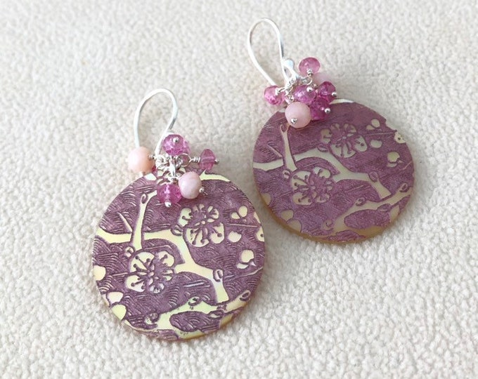 Pink Mother of Pearl Gemstone Earrings in Silver with Mystic Pink Topaz and Pink Peruvian Opal Cherry Blossom Pattern