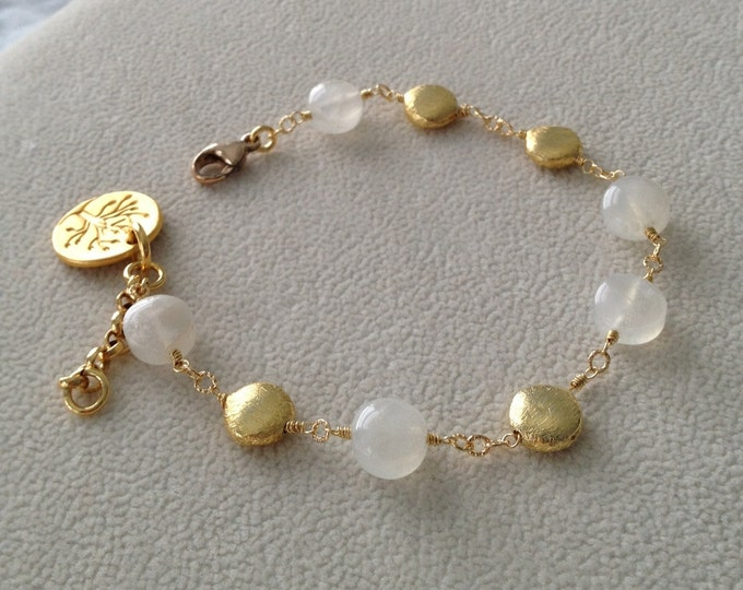 Rainbow Moonstone Coin Bracelet in Vermeil with Tree Medallion