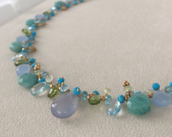 Semiprecious Gemstone Necklace in Gold Vermeil with Amazonite, Blue Chalcedony, Peridot, Topaz, Turquoise, Prehnite, Apatite