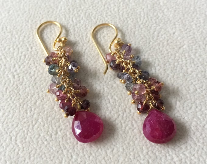 Gemstone Cluster Earrings in Gold Vermeil, Ruby and Spinel