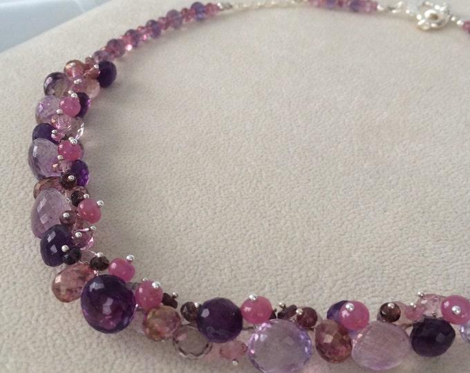 Gemstone Necklace in Sterling Silver, Moss Amethyst, Mystic Pink Topaz, Mystic Pink Quartz, Amethyst, Pink Sapphire, Spinel