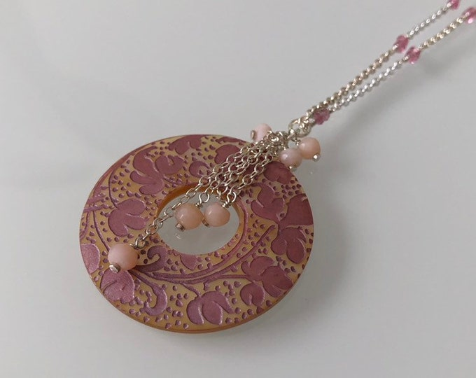 Pink Paisley Donut Shell Pendant in Sterling Silver with Pink Tourmaline and Peruvian Pink Opal