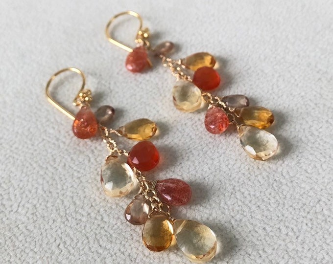 Semiprecious Gemstone Earrings in Gold Vermeil with Yellow and Golden Citrine, Sunstone, Orange Carnelian, Zircon