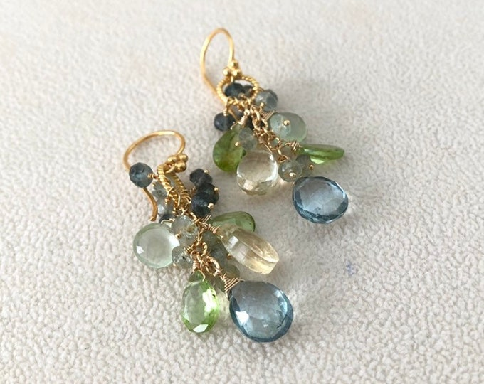 Semiprecious Gemstone Earrings in Gold Vermeil with Mystic Green Quartz, Peridot, Citrine, Prehnite and Moss Aquamarine