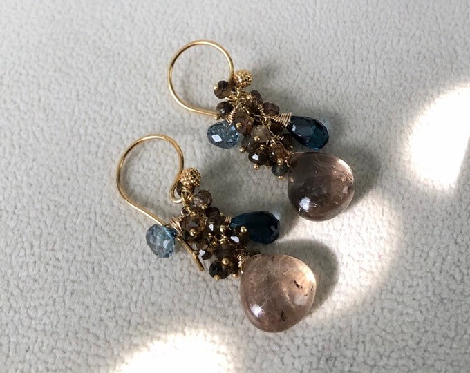 Olive Green Sapphire Earrings in Gold Vermeil with Umba Sapphire and Tunduru Sapphire and London Blue Topaz