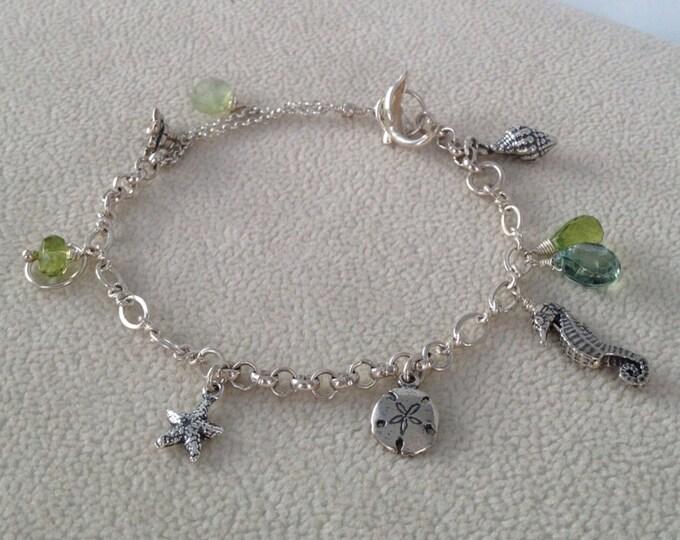 OOAK Green Marina Charm Bracelet in Sterling Silver with Semiprecious Gemstone Accents - Peridot, Mystic Green Quartz and Prehnite