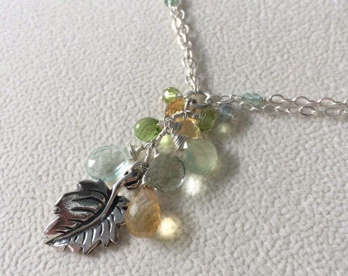 Citrine, Peridot, Green Amethyst, Green Flourite and Prehnite Autumn Leaf Pendant in Sterling Silver Double Chain