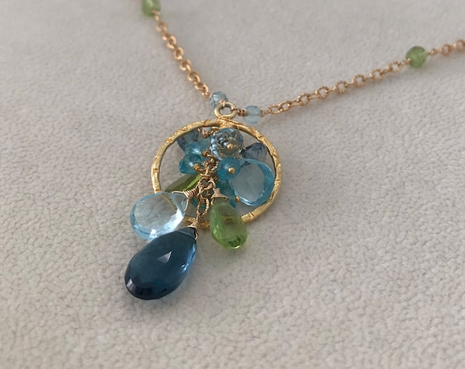 Semiprecious Gemstone Pendant Necklace in Gold Vermeil and Mystic London Blue Topaz, London Blue Topaz, Sky Blue Topaz and Peridot