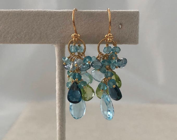 Semiprecious Gemstone Earrings in Gold Vermeil and Mystic London Blue Topaz, London Blue Topaz, Sky Blue Topaz and Peridot