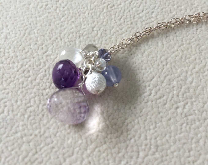 Semiprecious Gemstone Pendant in Sterling Silver with Moss Amethyst, Amethyst, Chalcedony, Iolite, Moonstone