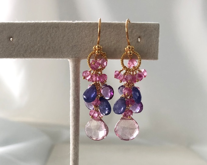 Semiprecious Gemstone Earrings in Gold Vermeil and Mystic Pink Topaz, Amethyst, Tanzanite and Mystic Pink Quartz