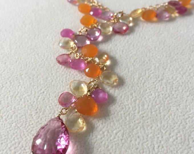 Gemstone Lariat Necklace in Gold Vermeil, Pink Sapphire, Citrine, Orange Carnelian, Mystic Pink Topaz - Adjustable Length Lariat