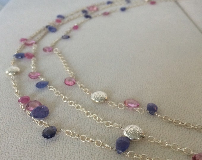 Spring Inspired Gemstone Multi-Strand Necklace in Sterling Silver with Pink Sapphire, Tanzanite, Mystic Pink Topaz and Quartz, Iolite