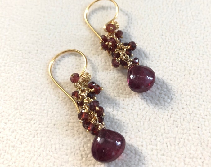 Red Sapphire Earrings in Gold Vermeil // Umba Sapphire and Tunduru Sapphire // Autumn Fall Colors // OOAK