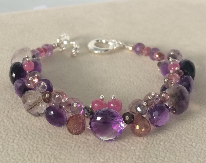 Gemstone Bracelet in Sterling Silver, Moss Amethyst, Mystic Pink Topaz, Mystic Pink Quartz, Amethyst, Pink Sapphire, Spinel