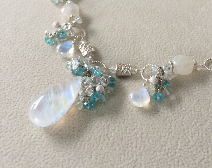 Semiprecious Gemstone Bridal Necklace in Rainbow Moonstone, Aquamarine and Apatite in Silver - Something Blue Collection