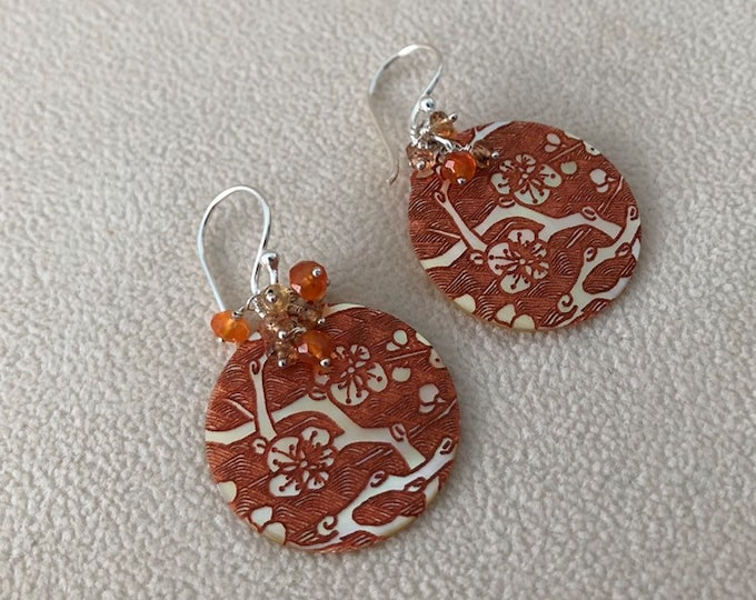 Orange Mother of Pearl Gemstone Earrings in Silver with Padparadscha Sapphire and Orange Carnelian Cherry Blossom Pattern