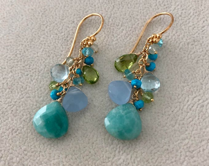 Semiprecious Gemstone Cluster Earrings in Gold Vermeil with Amazonite, Blue Chalcedony, Peridot, Topaz, Turquoise, Prehnite, Apatite