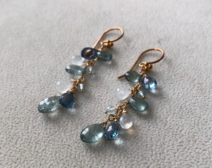 Moss Aquamarine Gemstone Earrings in Gold and Rainbow Moonstone, Mystic London Blue Topaz, Sky Blue Topaz and Apatite