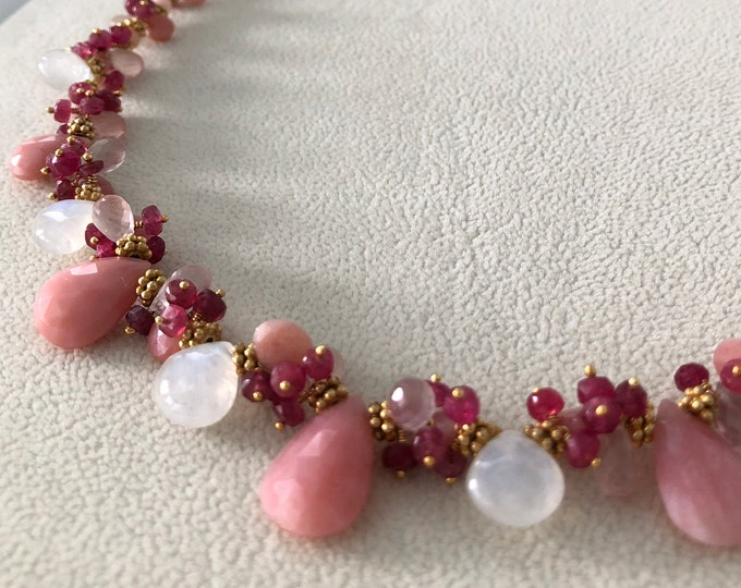 Semiprecious Gemstone Necklace in Gold Vermeil with Pink Opal, Rainbow Moonstone, Rose Quartz and Red Spinel